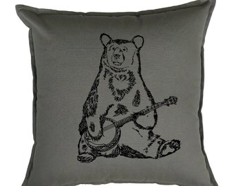 Couch Pillow Covers 20x20 - Accent Pillows Funny - Animal Pillows - Banjo Pillows - Bear Pillows - Cabin Pillows - Camp Pillows - Grey