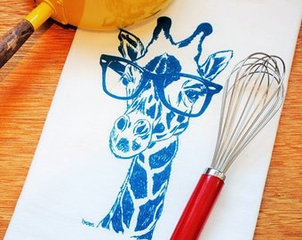 Teal Giraffe Kitchen Tea Towel - Screen Printed Funny Towels - Flour Sack Tea Towel - Eco Friendly Kitchen Towel - Dish Towels - Hand Towels