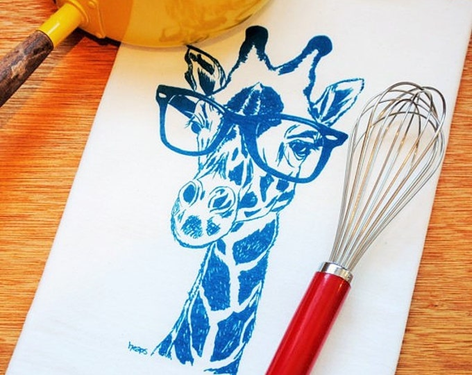Teal Giraffe Kitchen Tea Towel - Screen Printed Funny Towels - Flour Sack Tea Towel - Eco Friendly Kitchen Towel - Dish Towels - Hand Towels