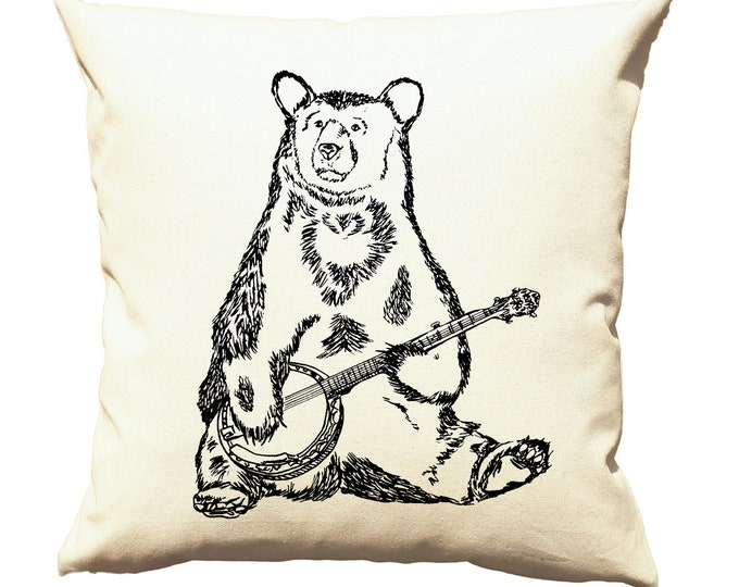 Couch Pillow Covers 20x20 - Cushion Pillow - Accent Pillows Funny - Animal Pillows - Banjo Pillows - Bear Pillows Cabin Pillows Camp Pillows