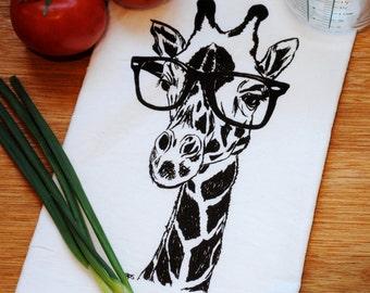 Dish Towel - Cotton Flour Sack Kitchen Towel - Dark Chocolate Brown Giraffe Cotton Hand Towel - African Wildlife Animals Tea Towel