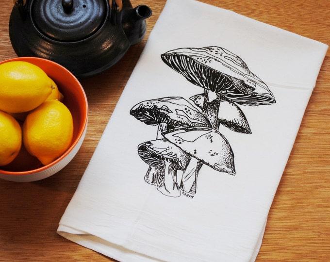 Mushroom Flour Sack Towel - Screen Printed - Cotton Tea Towel - Wedding Gift - Unique - Dark Chocolate Brown Mushroom - Dish Cup Towel