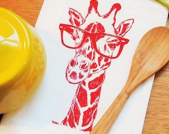 Red Giraffe Kitchen Tea Towel - Screen Printed Flour Sack Towel - Eco Friendly Kitchen Towel - African Theme - Wildlife Towels
