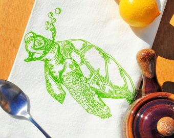 Green Turtle Kitchen Tea Towel - Screen Printed Flour Sack Tea Towel - Wedding Gift - Eco Friendly Kitchen Hand Towel - Coastal Beach Sea