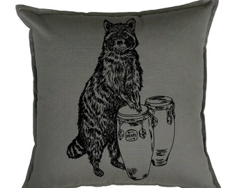 Couch Pillow Covers 20 x 20 - Raccoon Pillows - Cabin Pillow Covers - Cottage Pillows - Animal Pillows  - Grey Pillows - Chair Accent Pillow
