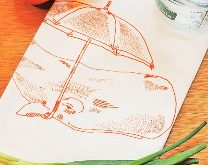 Dish Tea Towel - Orange Whale with an Umbrella - Cotton Flour Sack Towel - Eco Friendly Tea Towel - Unique Wedding Shower Gift