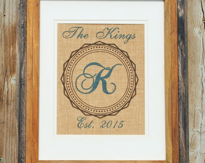 Personalized Anniversary Gift - Mr and Mrs Wedding Gift - Burlap Wall Hanging - Burlap Name Sign - Wall Art Rustic - Last Name Prints - Teal
