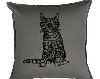 Couch Pillow Covers 20x20 - Gift for Cat Lover - Cat Pillow - Square Pillow - Accent Pillow - Printed Pillows - Hipster Decor - Gray Pillow