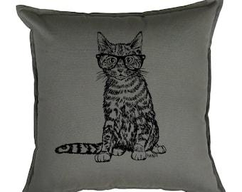 Couch Pillow Covers 20x20 - Cat Pillow - Square Pillow - Accent Pillow - Screen Print Pillows - Hipster Decor - Gray Sofa Pillow - Kitten