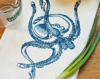 Octopus Tea Towel - Funny Towels -  Flour Sack Towel - Nautical Kitchen Towel - Dish Towels Cup Towel Hand Towel - Screen Printed Cotton