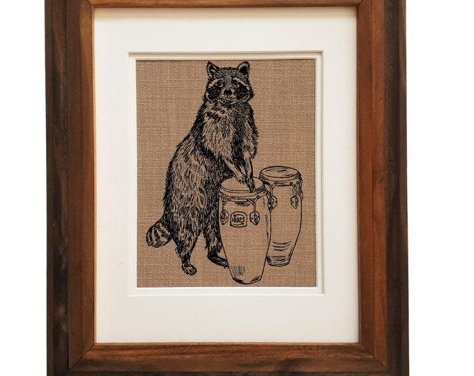 Wall Art Print Living Room - Unframed - Kitchen Wall Decor - House Warming Gift - Funny Animal Wall Art - Screen Print Art - Raccoon Art