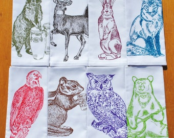 Kitchen Napkins - Multi Color - Screen Printed - Cloth Napkin Set of 8 - Washable Reusable - Animal Themed Party - Housewarming Gift Idea
