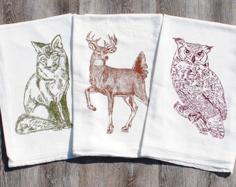 Woodland Animal Tea Towels - Set of 3 - Screen Printed Cotton - Absorbant Towels - Unique Birthday Christmas Mothers Day Gift