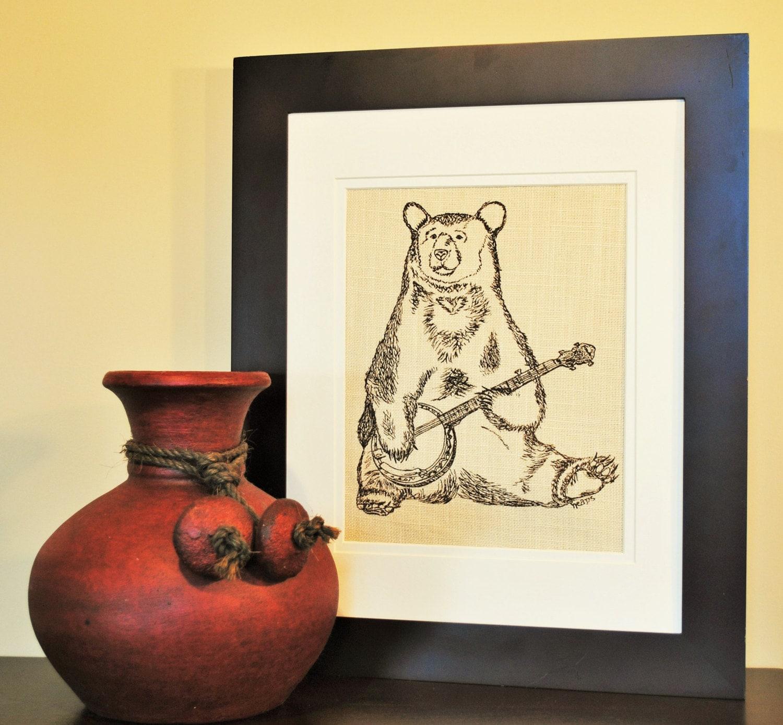 Brown Bear Wall Hanging - Dining Room Art - Animal Art - Office Wall ...