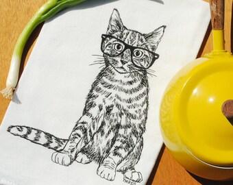Cat Flour Sack Tea Towel - 100% Cotton Kitchen Towel - Screen Printed Dish Towel - Black Kitten - Cat Towel - Animal Towel