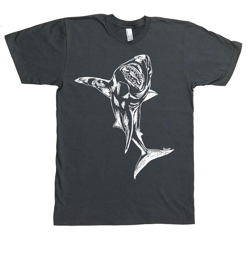 02c15aa8d1 Great White Shark T Shirt Nautical Tshirt Beach Tee Shirt | Etsy