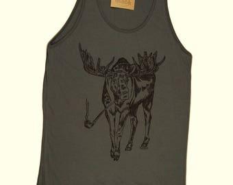 Tank Tops for Men - Pipe Smoking Moose Tank Top - Animal Graphic Tank Tops - Smoking Shirt - Smokers Gift - Pipe Shirt - Mens Gift