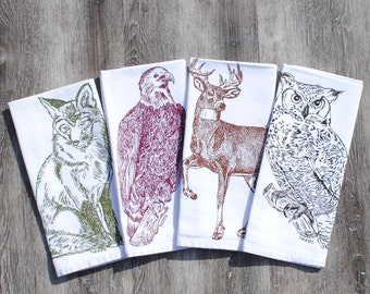Cloth Dinner Napkins - Eco Friendly - Screen Printed Cotton - Buck Fox Eagle Owl - Washable Reusable - Woodland Animals Theme