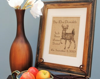 Deer Personalized Wall Decor - Last Name - Anniversary Gift - Birthday Gift - Housewarming Gift - Monogram Print - Forest Animal Print