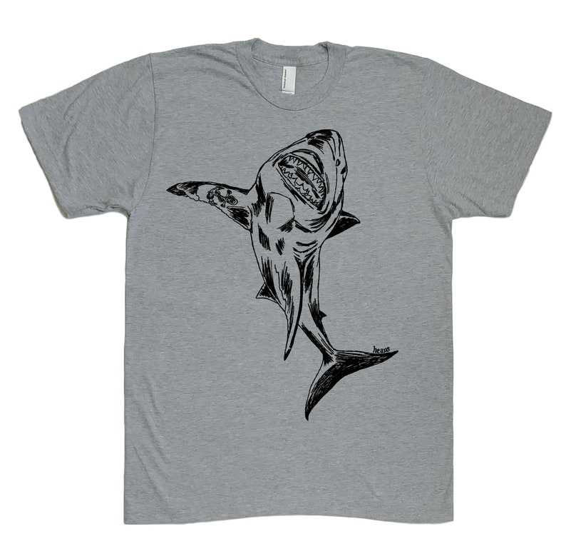 7ad94fade0 T Shirts for Men Great White Shark TShirt Printed Tees | Etsy