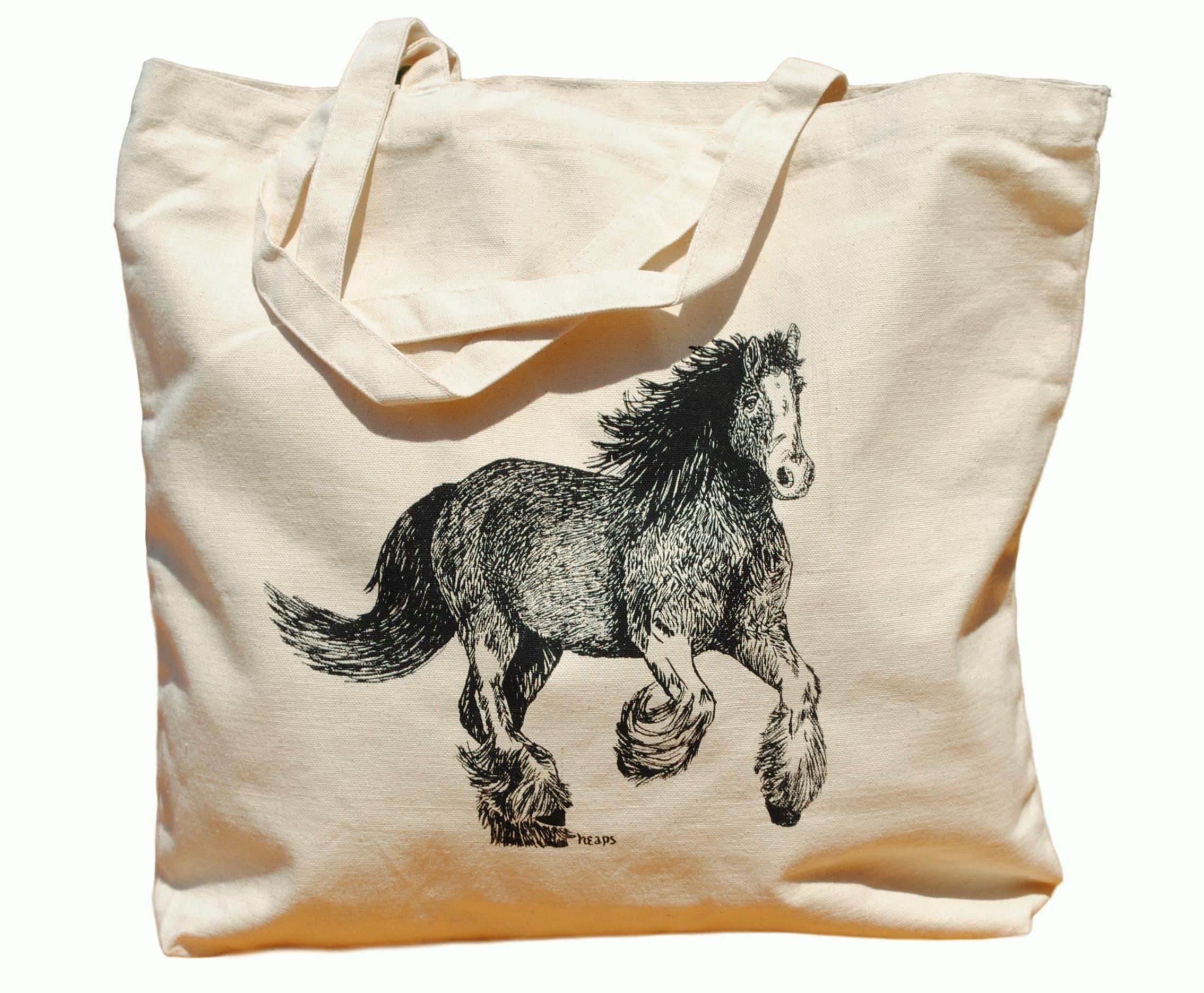 Clydesdales Horse Cotton Tote Bag - Canvas Tote - Horse Lover Gift - Bridesmaid Totes - Nautical Beach Destination Wedding Gift Bag