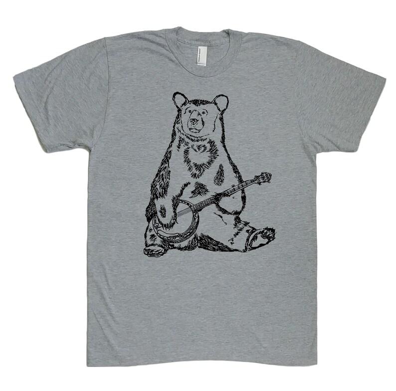Mens T Shirt  Banjo Bear T Shirt  Animal Tee  Graphic T image 0