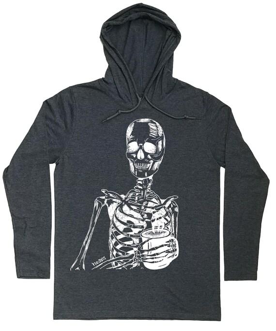 Skeleton Drinking Coffee Hoodie