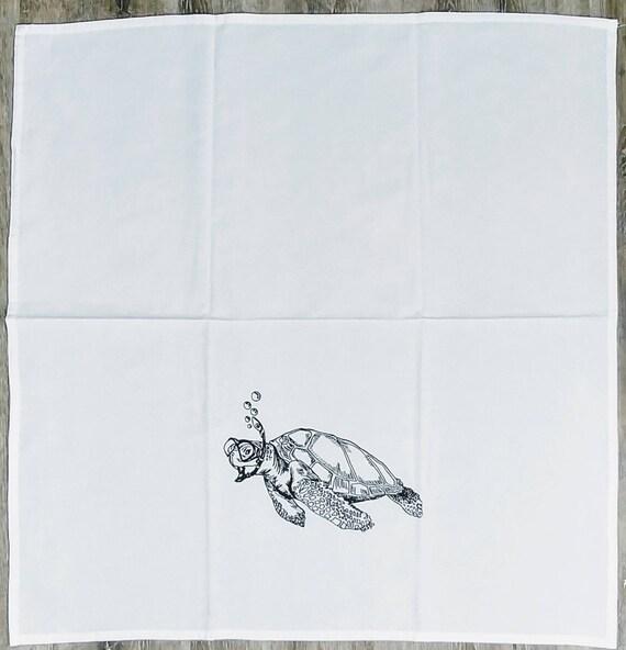 Torchon de cuisine - à l'encre noire écran imprimé Snorkeling tortue - farine sac serviette - serviette de cuisine - drôle serviettes - serviettes animaux - très grande serviette