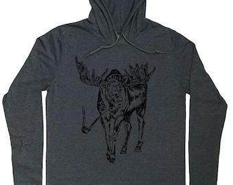 Mens Hoodies - Pipe Smoker Gift - Pipe Smoker T Shirt - Moose Shirt - Nature Lover Gift - Pipe Smoker Hoodie - Hoodie for Men - Grey Hoodies