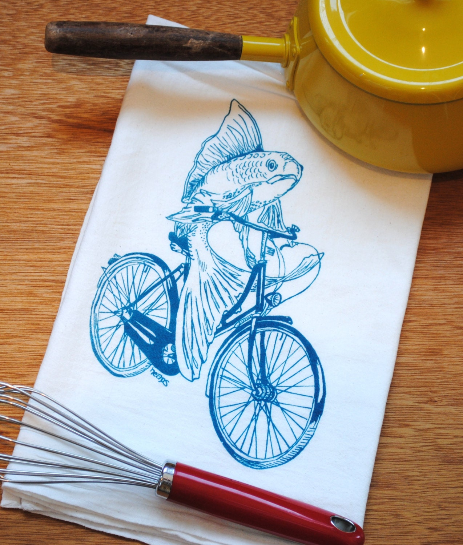Kitchen Towel - Teal Fish Vintage Bicycle - 100% Cotton - Flour Sack ...
