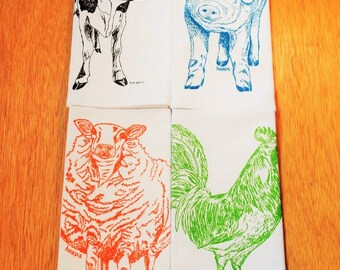 Cotton Dinner Napkins - Barnyard Animals Screen Printed Napkins - Washable and Reusable - Cute Wedding Shower Gift