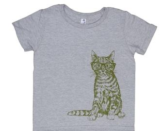 Girls T shirt - Boys TShirt - Cat Tshirt - Toddler T shirt - Funny Kids Shirts - Funny Boys Tshirts - Printed Animal Tee - Tee for Girls