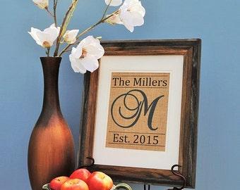 Personalized Wedding Gift | Personalized Burlap Art Wedding Gift | Anniversary Burlap Print | Burlap Monogram Print | Burlap Wall Hanging