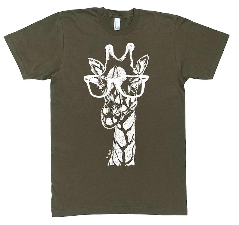 cba311ff72985 TShirts for Men - Graphic Tees for Men - Funny Man Tshirt - Nerdy Shirts -  Giraffe TShirt - Funny Tshirts - Hipster Shirt - Army Green Shirt