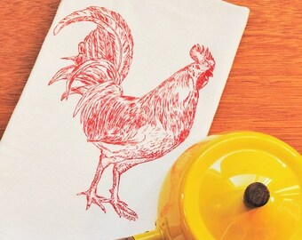 Tea Towel - Screen Printed - Red Rooster Towel - Perfect for Dishes - Barnyard Animal Kitchenware - Hand Towel Dish Towel - Country Linens