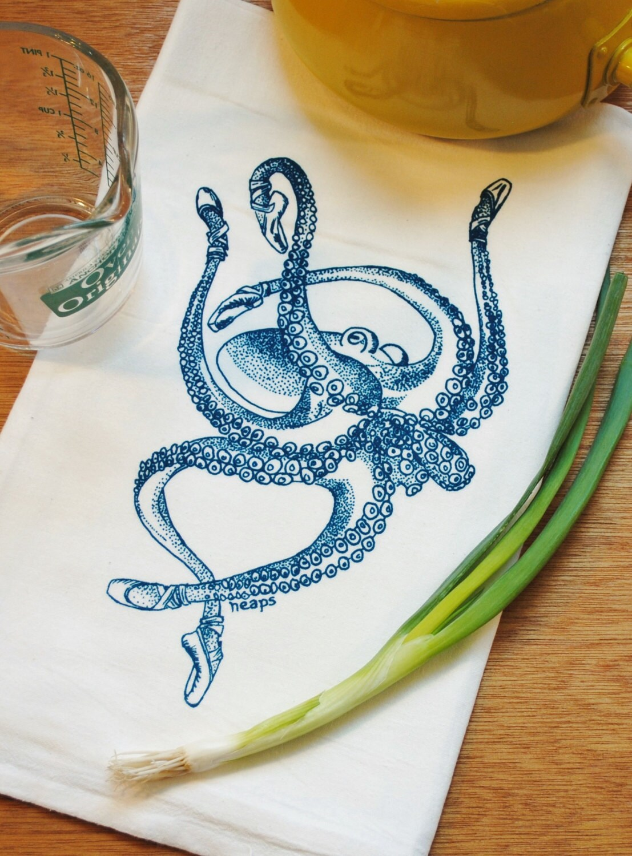 Octopus Tea Towel - Funny Towels - Flour Sack Towel - Nautical ...
