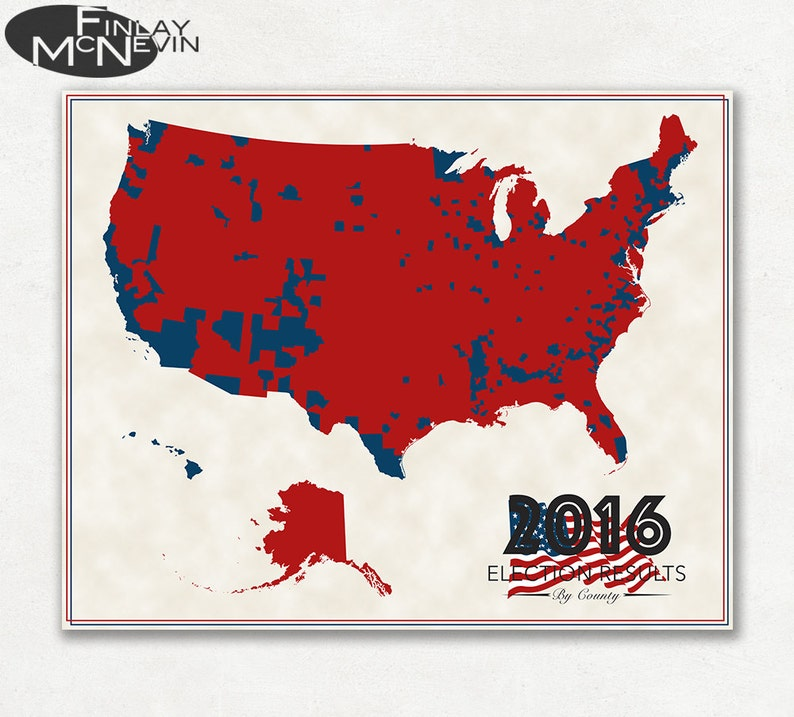 2016 Us Election Results County Map Fine Art Photographic Etsy - Us-election-results-state-map