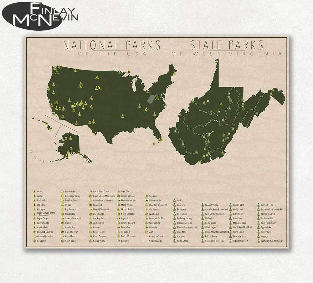 NATIONAL and STATE PARK Map of West Virginia and the United States, Fine  Art Photographic Print for the home decor.