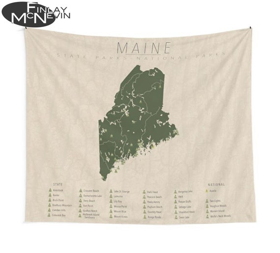 MAINE PARKS TAPESTRY, National and State Park Map, Wall Tapestry for the  home decor.