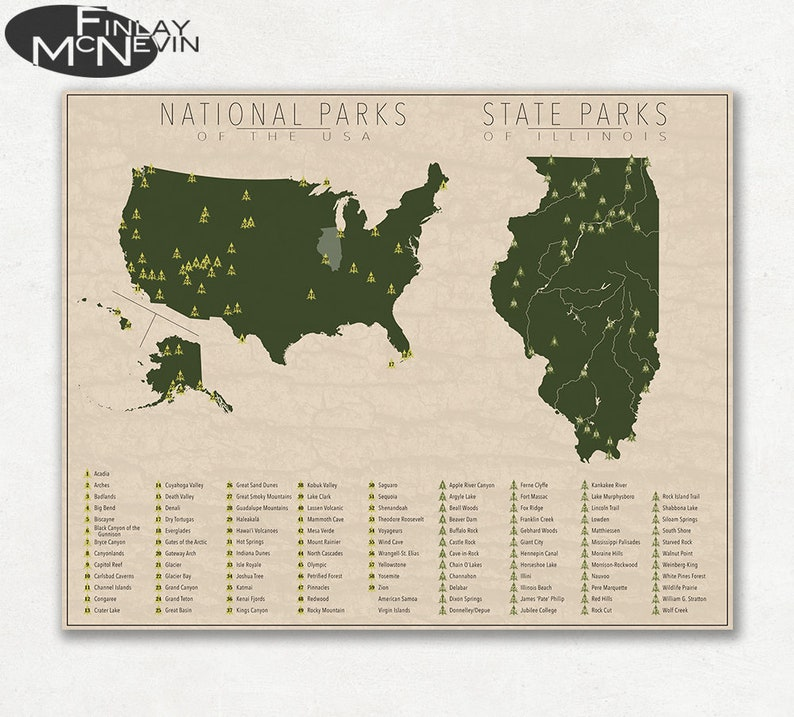 NATIONAL and STATE PARK Map of Illinois and the United States | Etsy