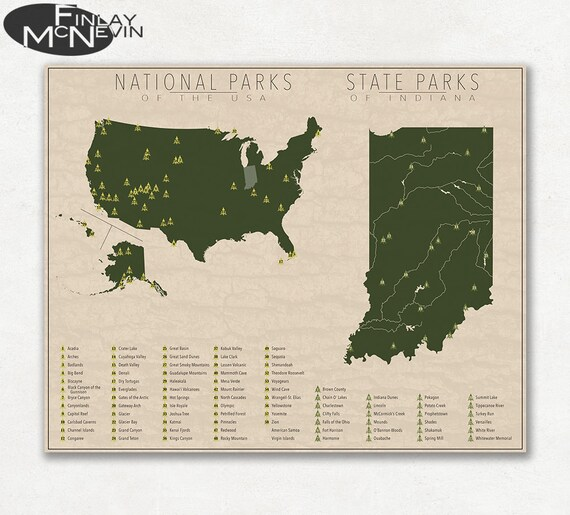 NATIONAL and STATE PARK Map of Indiana and the United States, Fine Art  Photographic Print for the home decor.
