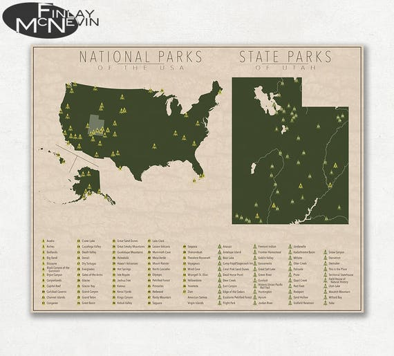 NATIONAL and STATE PARK Map of Utah and the United States | Etsy