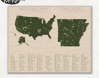 NATIONAL and STATE PARK Map of Arkansas and the United States, Fine Art Photographic Print for the home decor.