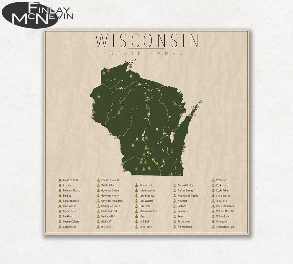WISCONSIN PARKS State Park Map Fine Art Photographic Print | Etsy