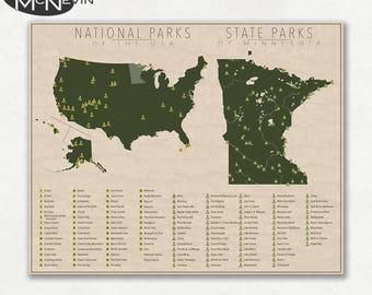 NATIONAL and STATE PARK Map of Minnesota and the United States, Fine Art Photographic Print for the home decor.