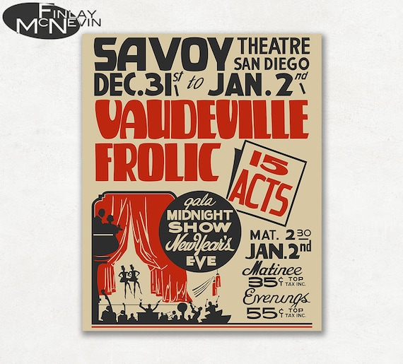 Wodewil Igraszki Vintage Plakat Teatralny 1930 Reprodukcji Etsy
