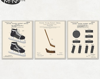 Hockey blueprint etsy hockey patent 3 pack vintage fine art print posters colour blueprint malvernweather Image collections