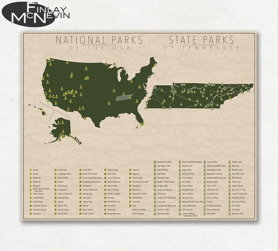 State Parks Tennessee Map.National And State Park Map Of Tennessee And The United Etsy