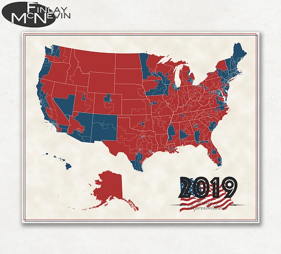 2019 U.S. HOUSE OF REPRESENTATIVES Map, Fine Art Photographic Print, Map of  the United States