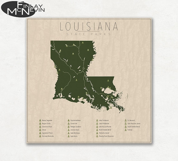 Louisiana Parks State Park Map Fine Art Photographic Print Etsy